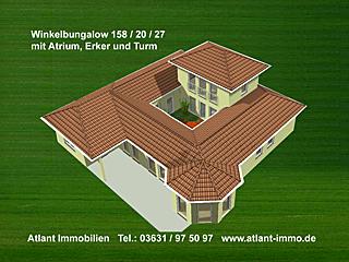 Winkelbungalow 158 / 20 / 27 mit Erker und Turm; 178 m² Wohnfläche