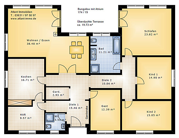 Bungalow 174 19 mit atrium einfamilienhaus neubau for Bungalow grundrisse