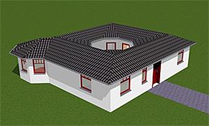 Winkelbungalow mit Atrium 3 mit Erker - Variante 2; 88 m² Wohnfläche