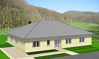 Bungalow mit 174 qm Wohnfläche und überdachtem Atrium Ansicht 1
