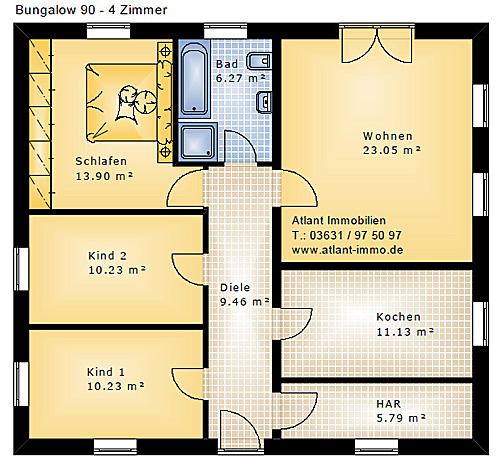 bungalow 90 4 zimmer einfamilienhaus neubau massivbau stein auf stein. Black Bedroom Furniture Sets. Home Design Ideas