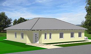 Winkelbungalow Einfamilienhaus 123 qm Wohnfläche plus 12 qm überdachter Terrassenbereich Ansicht 3