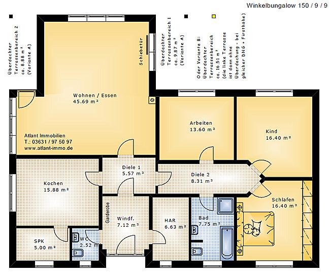 grundriss bungalow 150 qm h user immobilien bau. Black Bedroom Furniture Sets. Home Design Ideas