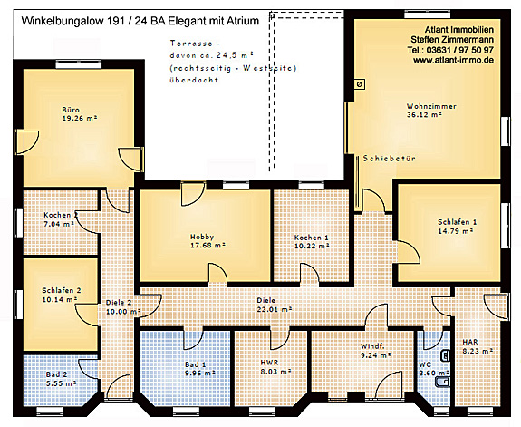 winkelbungalow 191 24 ba mit einliegerwohnung und atrium neubau einfamilienhaus massivhaus. Black Bedroom Furniture Sets. Home Design Ideas