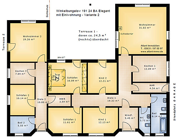 winkelbungalow 191 24 ba mit einliegerwohnung und atrium. Black Bedroom Furniture Sets. Home Design Ideas